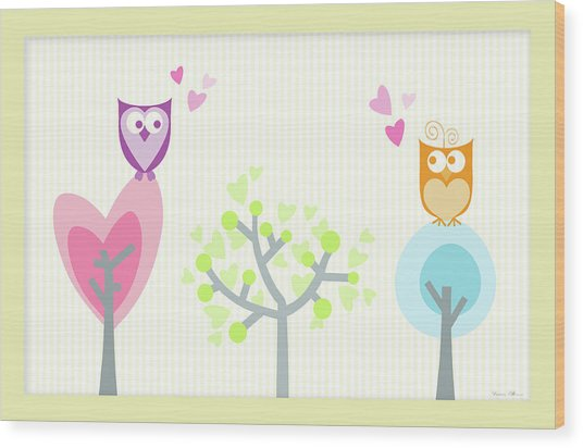 Love Owls Wood Print by Nomi Elboim