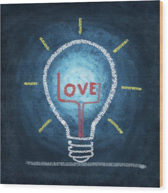 Love Word In Light Bulb Wood Print