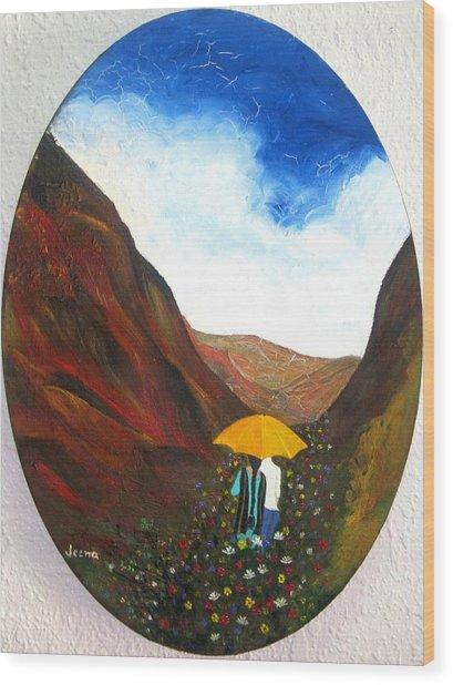 Lovers In A Valley Wood Print by Rejeena Niaz