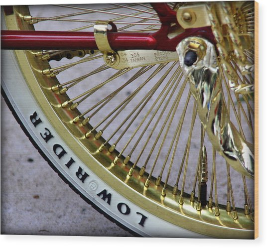 Low Rider In Maroon And Gold Wood Print by Tam Graff