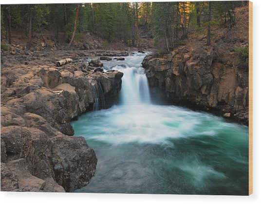 Lower Falls At Sunset Wood Print