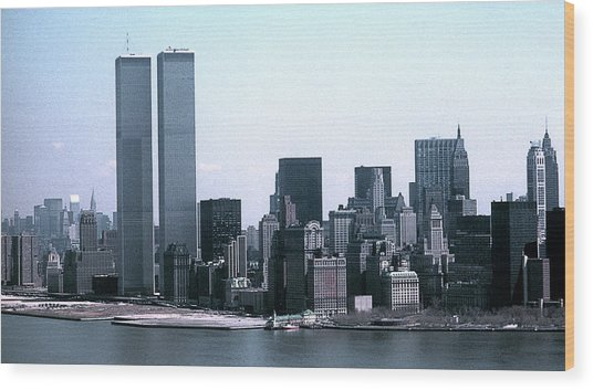 Lower Manhattan Island With Twin Towers Wood Print