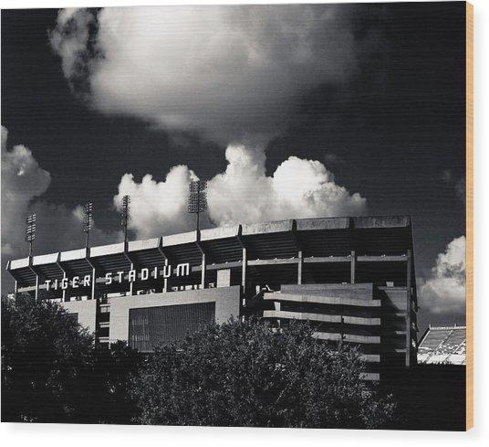 Lsu Tiger Stadium Black And White Wood Print