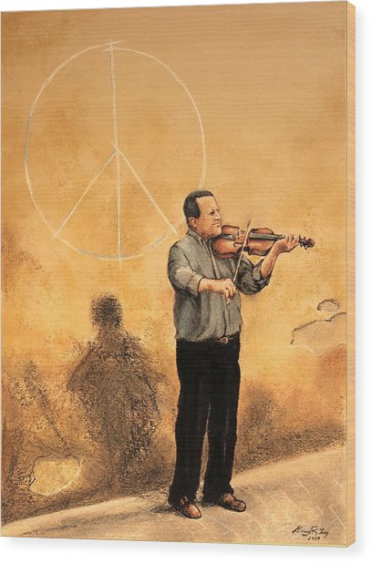 Luchese Street Musician Wood Print by Greg Riley