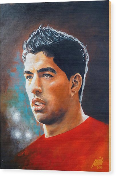 Luis Suarez Painting Wood Print by Ramil Roscom Guerra