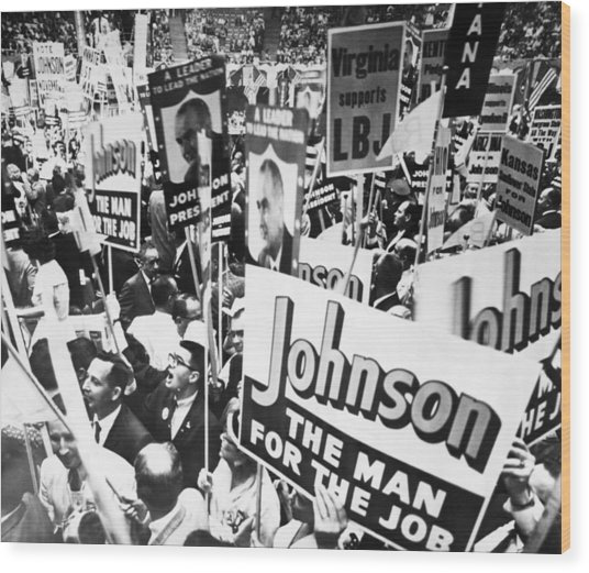 Lyndon Johnson. Delegates Supporting Us Wood Print by Everett