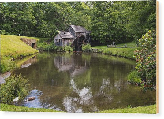 Mabry Mill And Pond Wood Print