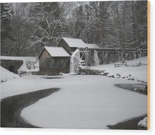 Mabry Mill On Ice Wood Print