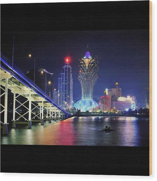 Macau City At Night Wood Print by Thank you for choosing my work.