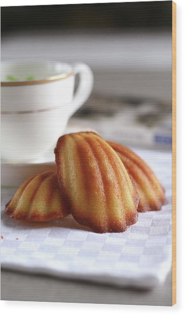Madeleines With Tea Wood Print by Lulu Durand Photography
