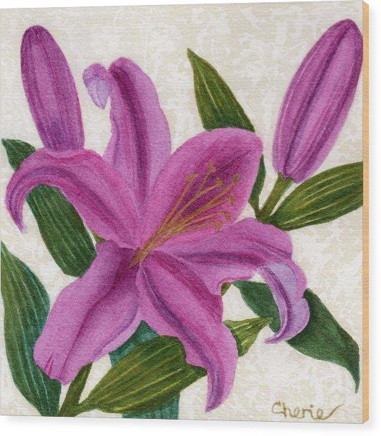 Magenta Lily Wood Print by Vikki Wicks