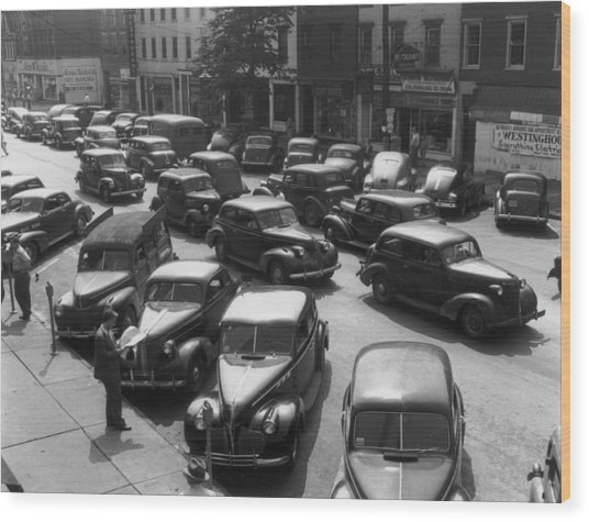Main Street Parking Wood Print by Archive Photos