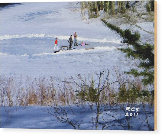 Maine Ice Skaters Wood Print
