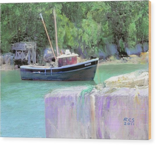 Maine Lobster Boat Wood Print