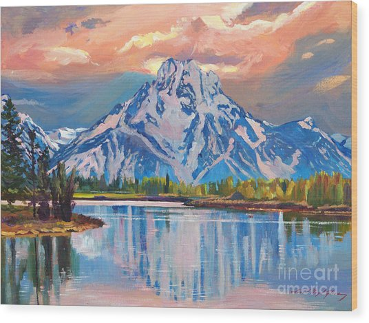 Majestic Blue Mountain Reflections Wood Print by David Lloyd Glover