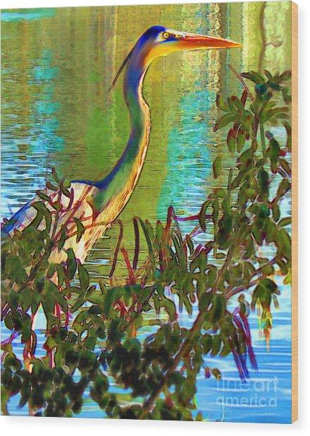 Majestic Crane Wood Print