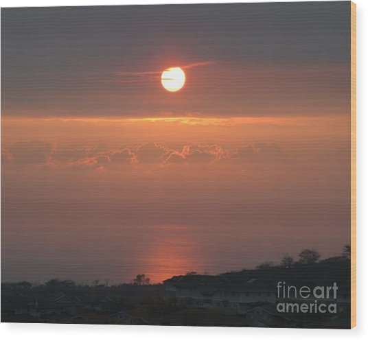 Makakilo Sunset Wood Print by Anthony Trillo