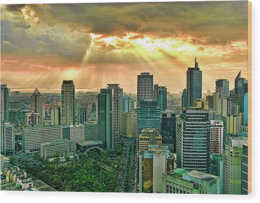 Makati City Skyline Wood Print