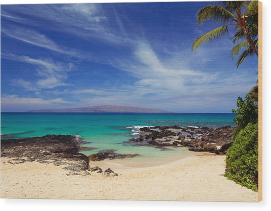 Makena Cove Maui Wood Print