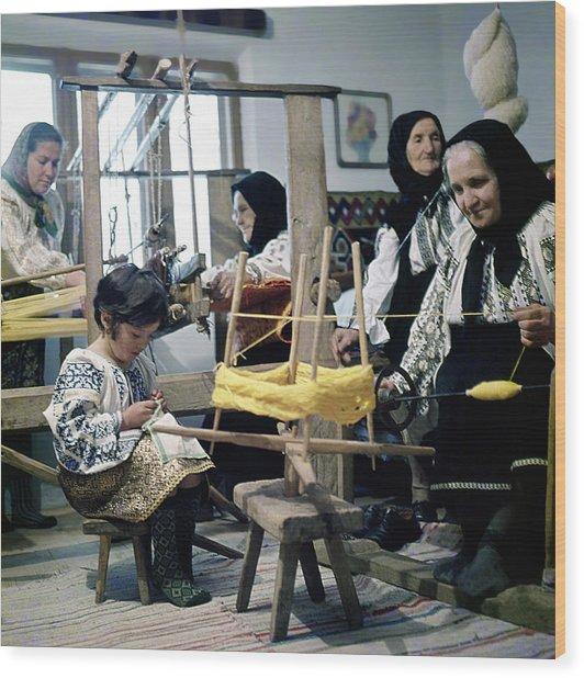 Making Wool Clothing In Vrancea Romania Wood Print