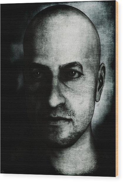 Male Portrait - Black And White Wood Print