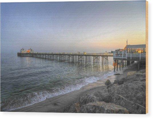 Malibu Pier Restaurant Wood Print