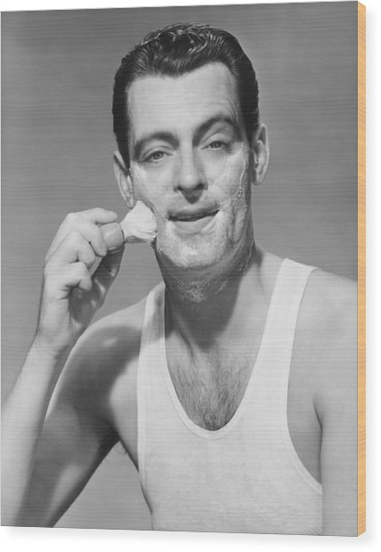 Man Applying Shave Foam On Face In Studio, (b&w), Portrait Wood Print by George Marks