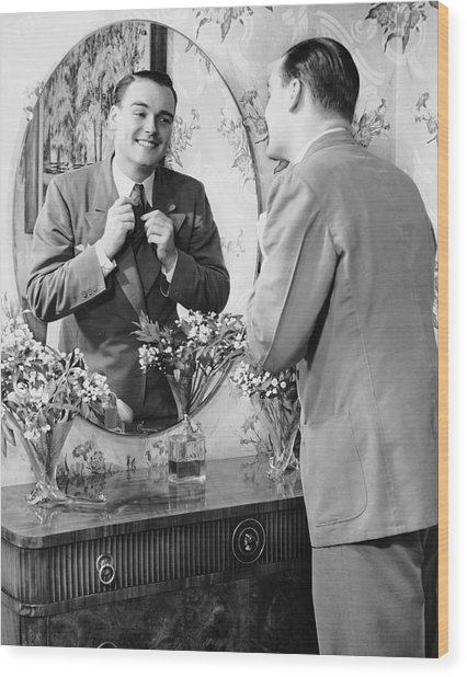 Man Checking Himself Out In Mirror Wood Print by George Marks
