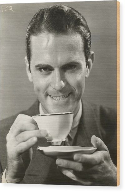 Man Drinking Cup Of Coffee Wood Print by George Marks