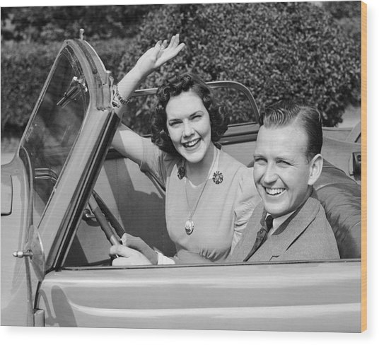 Man Driving Car And Woman Waving Wood Print by George Marks