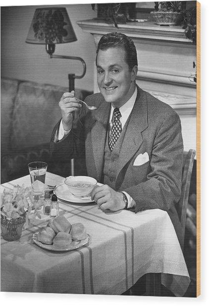 Man Having Dinner Wood Print by George Marks