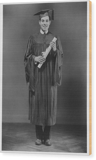 Man  In Graduation Gown Posing In Studio, (b&w), Portrait Wood Print by George Marks