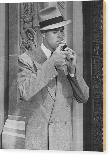 Man Lighting Cigarette Wood Print by George Marks