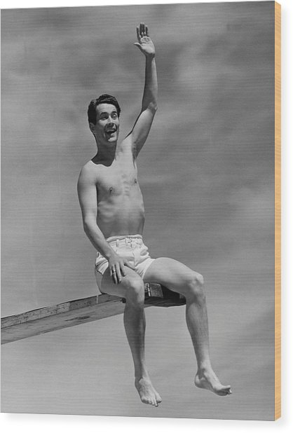 Man On Diving Board Wood Print by George Marks