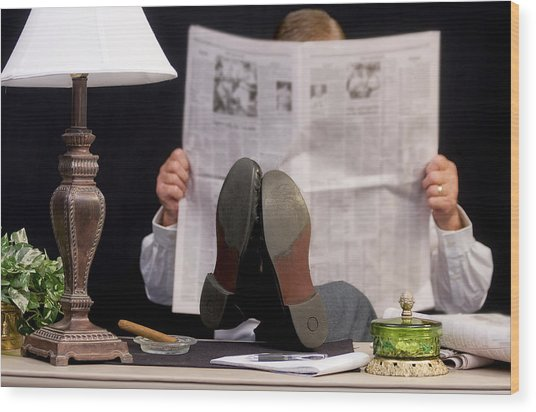 Man Read Newspaper Wood Print by Trudy Wilkerson
