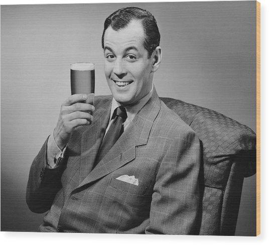 Man Sitting & Having A Beer Wood Print by George Marks