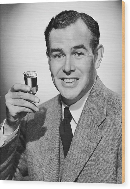 Man With Alcoholic Beverage Wood Print by George Marks