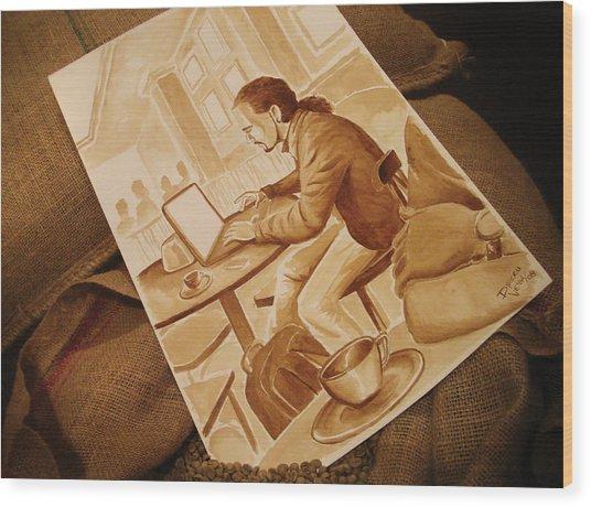 Man Working - Coffee Art Wood Print by Dirceu Veiga