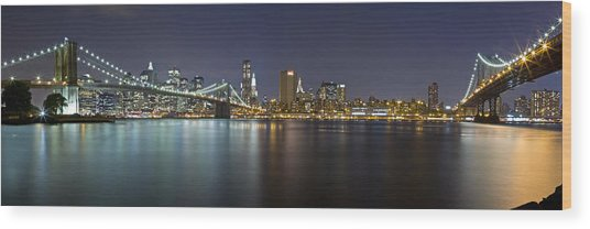 Manhattan At Night Panorama 2 Wood Print