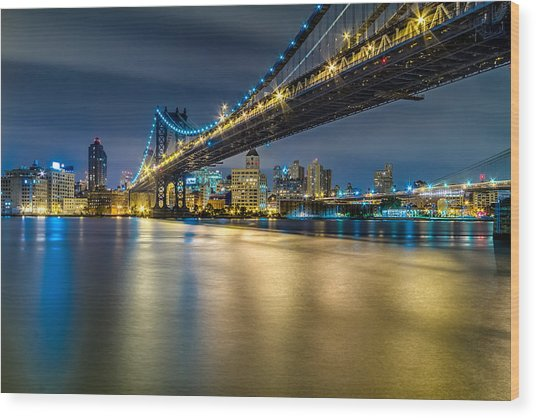 Manhattan Bridge And Downtown Brooklyn At Night. Wood Print