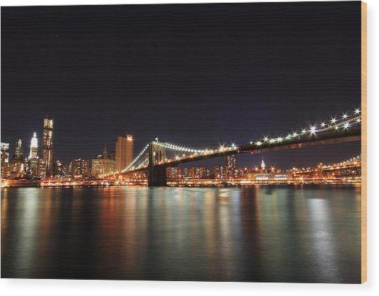 Manhattan Nightscape With Brooklyn Bridge Wood Print by Kean Poh Chua