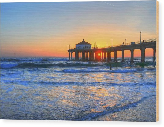 Manhattan Pier Sunset Wood Print