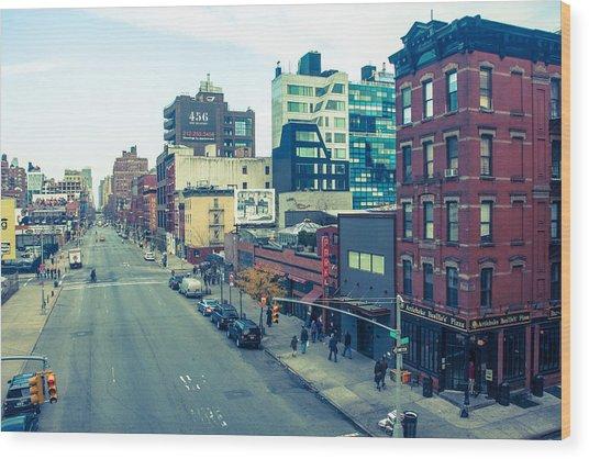 Manhattan Street Scene Wood Print by Nancy Kennedy