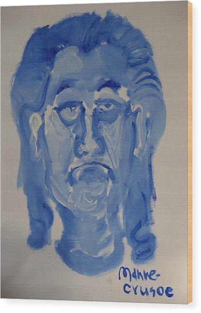 Manne-crusoe Blue Wood Print by Jay Manne-Crusoe