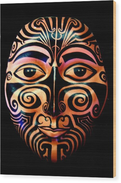 Wood Print featuring the sculpture Maori Mask by Michelle Dallocchio