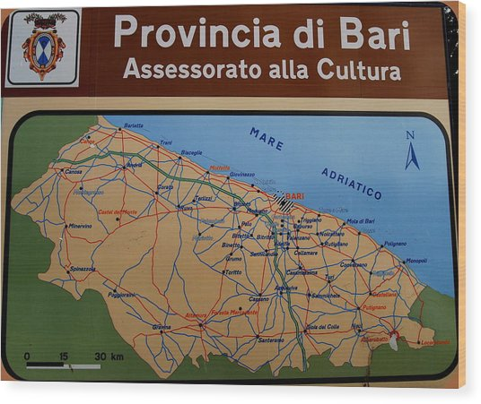 Map Of Bari Italy Wood Print