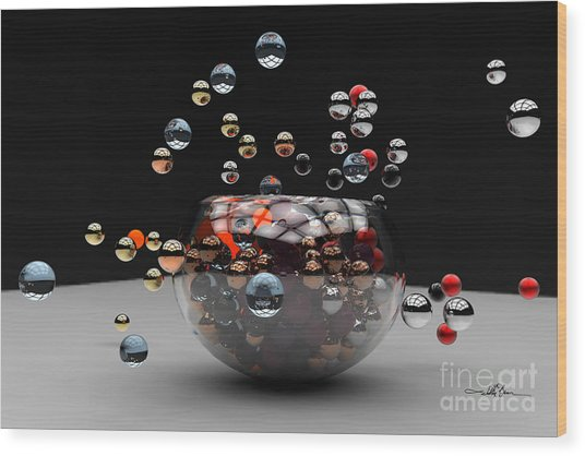 Marbles Fall Wood Print