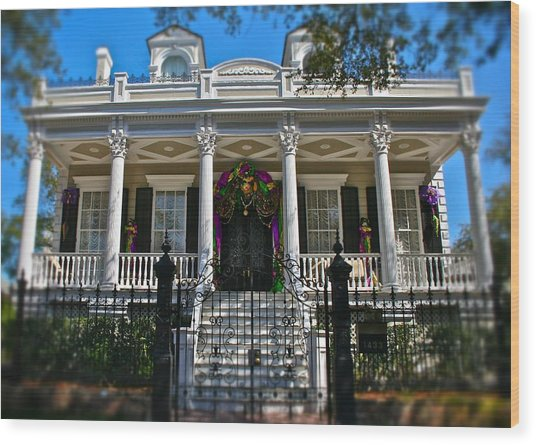 Mardi Gras House Wood Print