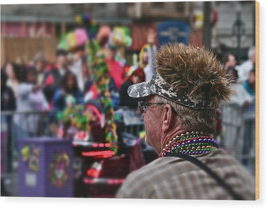Mardi Gras Man Wood Print