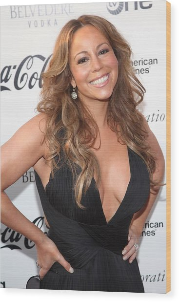 Mariah Carey At Arrivals For Apollo Wood Print